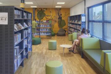 Afbeelding van de nieuwe inrichting van de bibliotheek in Barneveld